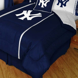 Sports Coverage - MLB New York Yankees Sidelines Comforter and Sheet Set Combo - Full - Save money off our already low prices by getting the New York Yankees Sidelines Comforter and Sheets together! This is a great Yankees Bedding comforter and Microfiber Sheet set combination!. Buy the Sheet set with the Comforter and save off our already discounted prices. Everything is made from 100% Polyester Jersey Mesh - just like the players wear. Show your team spirit with this great looking officially licensed Comforter which comes in new design with sidelines. Looks and feels like a real jersey! The fill is 100% Polyester batting for warmth and comfort. Featuring authentic team colors and logo screen printed in the center. Soft but durable. Machine washable in cold water. Tumble dry in low heat.  Microfiber Sheet Hem sheet sets have an ultrafine peach weave that is softer and more comfortable than cotton.  Its brushed silk-like embrace provides good insulation and warmth, yet is breathable.  The 100% polyester microfiber is wrinkle-resistant, washes beautifully, and dries quickly with never any shrinkage. The pillowcase has a white on white print beneath the officially licensed team name and logo printed in vibrant team colors, complimenting the NEW printed hems. The Teams are scoring high points with team-color logos printed on both sides of the entire width of the extra deep 4 1/2 hem of the flat sheet.  Includes:  -  Flat Sheet - Twin 66 x 96, Full 81 x 96, Queen 90 x 102.,    - Fitted Sheet - Twin 39 x 75, Full 54 x 75, Queen 60 X 80,    -  Pillow case Standard - 21 x 30,    - Comforter - Twin 66 x 86, Full/Queen 86 x 86,