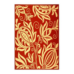Safavieh - Red Rug with Natural Floral Design (7 ft. 10 in. x 11 ft.) - Size: 7 ft. 10 in. x 11 ft. Machine Made. Made of Polypropylene.