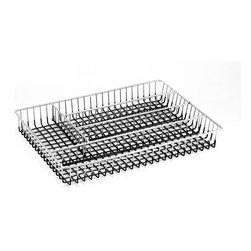 None - Chrome Metal Wire Flatware/ Cutlery Tray - For efficient washing and organization,this five-compartment cutlery tray is a perfect solution for your kitchen. The chrome plated tray has been PVC dipped on the bottom to ensure that this piece will last for years to come.