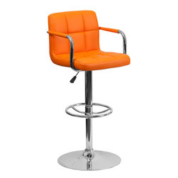 Flash Furniture - Orange Quilted Vinyl Adjustable Height Bar Stool with Arms and Chrome Base - This sleek dual purpose stool easily adjusts from counter to bar height. The simple design allows it to seamlessly accent any area in the home. Not only is this stool stylish, but very comfortable to provide you with an amazing sitting experience! The easy to clean vinyl upholstery is an added bonus when stool is used regularly. The height adjustable swivel seat adjusts from counter to bar height with the handle located below the seat. The chrome footrest supports your feet while also providing a contemporary chic design.