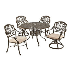 "Lamps Plus - Traditional Floral Blossom Taupe Large 5-Piece Dining Set - 5-piece outdoor dining set. Set includes 48"" table two swivel chairs and two armchairs. Powder-coated taupe finish. Cast aluminum construction. Two-tone woven natural color polyester cushions. Hand-applied gold speckling sealed with a clear coat for protection. Attractive patterned design. Nylon glides on legs offer stability. Stainless steel hardware finish. Assembly required. 2"" umbrella hole in table with black cap. Table is 48"" wide 48"" deep 29"" high. Chairs are 25"" wide 26 3/4"" deep 36 1/2"" high.   5-piece outdoor dining set.  Set includes 48"" table two swivel chairs and two armchairs.  Powder-coated taupe finish.  Cast aluminum construction.  Two-tone woven natural color polyester cushions.  Hand-applied gold speckling sealed with a clear coat for protection.  Attractive patterned design.  Nylon glides on legs offer stability.  Stainless steel hardware finish.  Assembly required.  2"" umbrella hole in table with black cap.   Table is 48"" wide 48"" deep 29"" high.  Chairs are 25"" wide 26 3/4"" deep 36 1/2"" high."