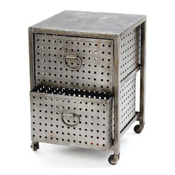 Two Drawer Industrial Bin Unit - Make use of this enclosed space for storing items in volume in this portable industrial bin unit from our country chic furniture collection. It can help to categorize necessary supplies neatly to keep the items available at-hand. The two drawer unit is perfectly enclosed with door to ensure protection.