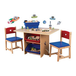 "KidKraft - Kidkraft Kids Room Homework Activity Games Fun Play Star Table And Chair Set - Our Star Table and 2 Chair Set is the ideal place for homework, games or arts and crafts. Because of the table's natural wood, this fun furniture set would look great in any kid's room. Dimension: Table: 30.25""Lx 22.25""Wx 20.25""H, Chair: 11.75""Lx 11.25""Wx 20""H, Seat: 11""H"