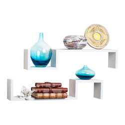 """Danya B. - """"S"""" Wall Mount Shelves (Set of 2), White - Set of 2 S"""" wall mount shelves give the illusion of floating in the wall and add a contemporary feel to your room decor. Can be arranged in different configurations to create your own look while solving your storage problems. Easy to install with no visible connectors or hanging hardware. All hardware included. Overall measures: 22x4.75x4""""."""