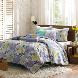 Madison Park - Madison Park Jessica 6-piece Cotton Coverlet Set - Bring the charm of the garden to life in your bedroom with this six-piece cotton coverlet set. It has everything needed for a bedroom makeover,right down to the pillows on the bed. It is made from cool-to-the-touch materials for supreme comfort.