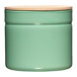 Traditional Food Container - Large, Green - With an ash wood lid and a stackable shape, this enamel and steel storage pot provides a flavor-neutral and non-porous for preserving food.