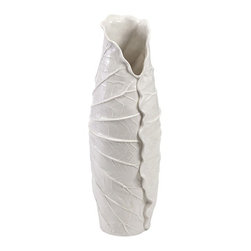 iMax - Oberon Small Porcelain Vase - Gently fold: A creamy porcelain vase is formed by the scalloped edges of a small, detailed, fluted leaf.