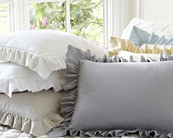 "Linen Ruffle Euro Sham, Gray Mist - Finished with softly pleated ruffles, our shams add a polished yet relaxed touch to the bed. Array them in your choice of colors. Our flax sham is woven from a natural, undyed fabric that may lend variances in hues. 26"" square Made of pure linen. Envelope closure; insert sold separately. Imported. Machine wash."