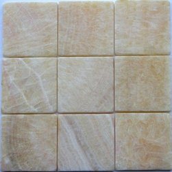 Honey Tumbled Square Pattern Mesh-Mounted Onyx Tiles - 4 in. x 4 in. Honey Mesh-Mounted Square Pattern Onyx Mosaic Tile is a great way to enhance your decor with a traditional aesthetic touch. This tumbled mosaic tile is constructed from durable, impervious onyx material, comes in a smooth, unglazed finish and is suitable for installation on floors, walls and countertops in commercial and residential spaces such as bathrooms and kitchens.