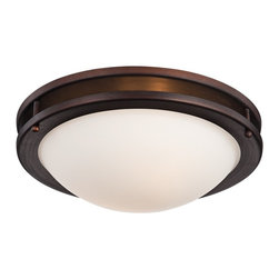"Lamps Plus - Arts and Crafts - Mission Justin 13  1/4"" Wide Bronze Ceiling Light - Create a handsome look in a kitchen office or hallway with this beautiful bronze finish double-ring frame flushmount ceiling light. A white glass bowl shade holds two bright bulbs that will bathe your home in light and style. Ideal for your contemporary or transitional style decor. Flushmount bronze ceiling light. Metal construction. Two maximum 60 watt bulbs (not included). 13 1/4"" wide. 4 1/2"" high.  Flushmount bronze ceiling light.   Metal construction.   Two maximum 60 watt bulbs (not included).   13 1/4"" wide.   4 1/2"" high."