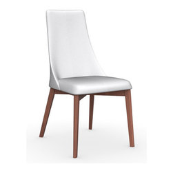 Calligaris - Etoile Leather Chair, Walnut Legs, Optic White Seat, Set of 2 - With a sloped back and supportive seat, all covered in super-soft leather, this charming chair combines a pretty profile with perfectly plush comfort. Choose from a variety of leather and leg colors to create an impeccable piece for your dining room.