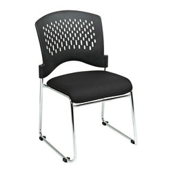 Office Star - Pro-Line II Stacking Visitors Chair w/ Plastic Back - Black FreeFlex Fabric Seat - Visitors Chair w/ Plastic Back - Black FreeFlex Fabric Seat & Sled Base - Chrome belongs to Stacking Collection by Pro-Line II Series Visitors Chair with Plastic Back. Black FreeFlex (-30). Fabric Seat and Sled Base. Chrome Finish. 20 pack on Dolly Office Chair (20)