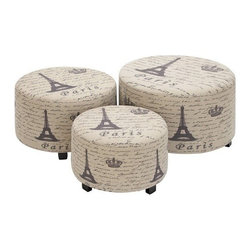 """BZBZ35018 - Wood Ottoman Set of 3 Handcrafted Accent Furniture - Wood Ottoman Set of 3 Handcrafted Accent Furniture28"""", 24"""", 19""""W Handcrafted Accent Furniture. Some assembly may be required."""