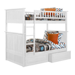 Nantucket Bunk Bed Full Over Full / Raised Panel Drawers / White - Features: