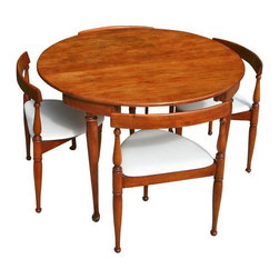 Mid-Century Modern Game Table and Four Chairs - Dimensions 42.5ʺW × 42.5ʺD × 28.5ʺH