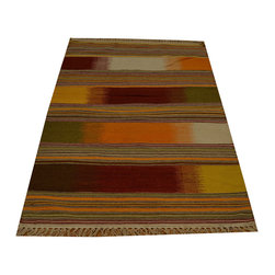Multicolored Durie Kilim Flat Weave 100% Wool 3'x5' Hand Woven Rug SH15797 - Soumaks & Kilims are prominent Flat Woven Rugs.  Flat Woven Rugs are made by weaving wool onto a foundation of cotton warps on the loom.  The unique trait about these thin rugs is that they're reversible.  Pillows and Blankets can be made from Soumas & Kilims.