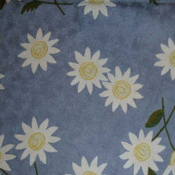 Crewel Rug Sunflower Blissful Blue Chain Stitched Wool Rug (4x6FT)
