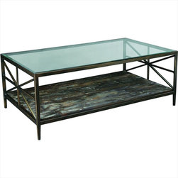 """Hammary - Crossnore Rectangular Cocktail Table in Dark Brass/Weathered Wood Finish - """"Revel in the beauty of """"""""Crossnore,"""""""" a newthree-piece transitional collection from Hammary. This is occasional furniture that displays a unique sense of pride in creativity and craftsmanship."""
