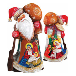 """Artistic Wood Carved Nativity Santa Claus Sculpture - Measures 9""""H x 3.75""""L x 3.25""""W and weighs 2 lbs. G. DeBrekht fine art traditional, vintage style sculpted figures are delightful and imaginative. Each figurine is artistically hand painted with detailed scenes including classic Christmas art, winter wonderlands and the true meaning of Christmas, nativity art. In the spirit of giving G. DeBrekht holiday decor makes beautiful collectible Christmas and holiday gifts to share with loved ones. Every G. DeBrekht holiday decoration is an original work of art sure to be cherished as a family tradition and treasured by future generations. Some items may have slight variations of the decoration on the decor due to the hand painted nature of the product. Decorating your home for Christmas is a special time for families. With G. DeBrekht holiday home decor and decorations you can choose your style and create a true holiday gallery of art for your family to enjoy. All Masterpiece and Signature Masterpiece woodcarvings are individually hand numbered. The old world classic art details on the freehand painted sculptures include animals, nature, winter scenes, Santa Claus, nativity and more inspired by an old Russian art technique using painting mediums of watercolor, acrylic and oil combinations in the G. Debrekht unique painting style. Linden wood, which is light in color is used to carve these masterpieces. The wood varies slightly in color."""