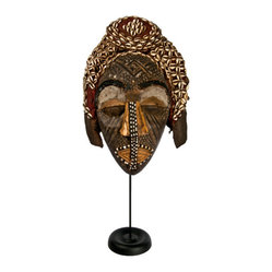 Salvatecture Studio - Antique Congo Kuba Helmet Mask on Stand - You may not be able to afford a trip to Africa but you can still have a keepsake from the Congo. This 18th-century mask from the Kuba tribe is mounted on a stand for easy display.
