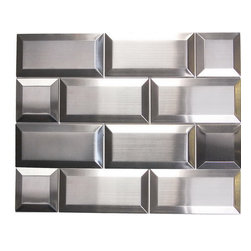 "Oddysey Subway 3"" X  6"" Stainless Steel Mosaic - The name says it all - 3"" 6"" , 1/2"" Bevel Edge  Stainless Steel Subway. Use one or use as blend. 8 pieces/sft  These subway project will results in a stunning modern effect .This subway tile is ideal for steel back splashes, accent walls, fireplaces and more. Also known as Stainless Steel Subway"