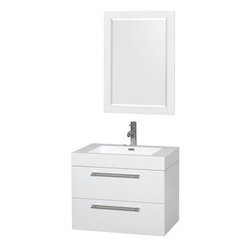 """Wyndham Collection(R) - Amare 30"""" Wall-Mounted Bathroom Vanity Set with Integrated Sink by Wyndham Colle - The Wyndham Collection is an entirely unique and innovative bath line. Sure to inspire imitators, the original Wyndham Collection sets new standards for design and construction. The Amare wall-mounted vanity family delivers beautiful wood grain exteriors offset by modern brushed chrome door pulls. Each vanity provides a full complement of storage areas behind sturdy soft-close doors and drawers. This versatile vanity family is available with distinctive vessel sinks or sleek integrated counter and sinks to fulfill your design dreams. A wall-mounted vanity leaves space in your bathroom for you to relax. The simple clean lines of the Amare wall-mounted vanity family are no-fuss and all style. Amare Bathroom Vanities are available in multiple sizes and finishes.FeaturesConstructed of the highest grade MDF, engineered for durability to prevent warping and last a lifetime 8-stage preparation, painting and finishing processHighly water-resistant low V.O.C. sealed finishUnique and striking contemporary designModern Wall-Mount DesignMinimal assembly requiredDeep Doweled DrawersFully-extending soft-close drawer slides Backsplash not availableAcrylic-Resin integrated sink Rectangular Sink Single-hole faucet mountFaucet(s) not includedMirror includedMetal exterior hardware with brushed chrome finishTwo (2) functional drawersPlenty of storage spacePerfect for small bathrooms and powder roomsIncludes drain assemblies and P-traps for easy assembly How to handle your counter Spec Sheet for Vanity Installation Guide for Vanity Spec Sheet for Mirror Installation Guide for Mirror Spec Sheet for Amare Rotating Wall Cabinet with Mirror (WC-RYV202) Spec Sheet for Amare Bathroom Wall Cabinet (WC-RYV205) Installation Guide for Amare Bathroom Wall Cabinet (WC-RYV205) Spec Sheet for Amare Bathroom Wall Cabinet (WC-RYV207-WC)Installation Guide for Amare Bathroom Wall Cabinet (WC-RYV207-"""