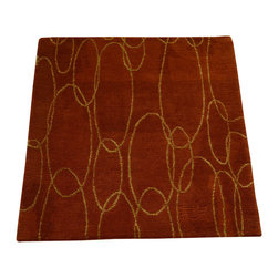 1800GetARug - Oriental Rug Wool and Silk Square Rust Red Mat Hand Knotted Rug Sh12287 - About Modern & Contemporary