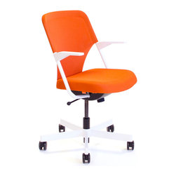 Poppin - Orange 5th Avenue Chair - Designed by Poppin in New York City, this bright orange desk chair is also sublimely comfortable, thanks to soft-grip armrests, a 3-D knit backrest, and a molded polyurethane cushion. The sturdy powder-coated white steel frame and aluminum caster base won't tip, and the chair is fully adjustable, allowing you to get your work done with ease. The stain-resistant upholstery cleans right up with mild soap and warm water, and tool-free assembly means you'll be sitting pretty in no time.