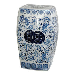 Oriental Unlimited - 18.5 in. High Blue & White Floral Square Porc - Elegant, distinctive variation on the classic Chinese garden stool. Crafted from top quality, extra durable, fine Chinese porcelain. 12 in. Dia. x 18.5 in. H (21 lbs.). Seat: 10 in. Dia.
