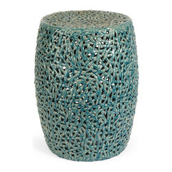 iMax - iMax Tobias Cutwork Garden Stool X-06052 - The Tobias cutwork garden stool is skillfully handcrafted from ceramic and finished in a turquoise glaze.