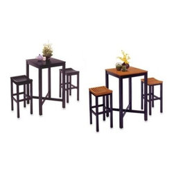 Home Styles - Home Styles Hardwood 3-Piece Pub Table Set - Home Styles pub set is a stylish accent table for dining. The pub set features a bar table and two stools. The bar table is of hardwood construction with veneer top and finish. The bar stools are of hardwood construction.