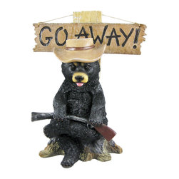 Go Away' Country Bear Un-Welcome Garden Statue - This grouchy country black bear lawn/garden statue, with floppy hat and shotgun, can help your neighbors, mailman, salesmen, etc. understand what kind of mood you're in. On good days, turn the sign hanging from the post to read 'Welcome'. On bad days, turn it around, an it reads 'Go Away'. The figure measures 17 inches tall, 13 inches wide and 7 1/2 inches deep. Made of extremely durable bonded marble resin, this figure is fade and breakage resistant.