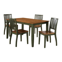 Steve Silver Company - Steve Silver Company Candice 7 Piece Rectangular Dining Table Set in Oak and Gre - Steve Silver Company - Dining Sets - CD450TG7PcDiningPKG - Steve Silver Company Candice Rectangular Dining Table in Oak and Green