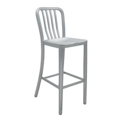 Kathy Kuo Home - Bleeker Industrial Style Silver Polished Steel Bar Stool - For a splash of Industrial Loft style inside or a sleek, comfortable bar stool outside by the grill, this versatile stool fits the bill. These chairs are crafted from durable steel. Finished in brushed silver, this classic stool is simple and stylish for a breakfast bar or in your outdoor living space.