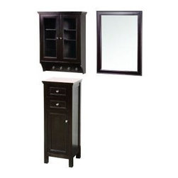 Foremost - Foremost Gazette 24 in. Mirror, Espresso (GAEM2432COMBO1) - Foremost GAEM2432COMBO1 Gazette 24 in. Mirror and Wall Cabinet with Glass Door and Floor Cabinet, Espresso