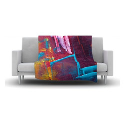 """Kess InHouse - Malia Shields """"Cityscape Abstracts II"""" Multicolor Painting Fleece Blanket (90"""" x - Now you can be warm AND cool, which isn't possible with a snuggie. This completely custom and one-of-a-kind Kess InHouse Fleece Throw Blanket is the perfect accent to your couch! This fleece will add so much flare draped on your sofa or draped on you. Also this fleece actually loves being washed, as it's machine washable with no image fading."""
