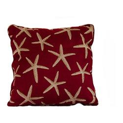 "Red starfish throw pillow decorative cushion cover 20"" - A red starfish pillow cover. This 20"" x 20"" decorative cushion cover is made from decorator fabric."
