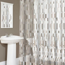Home Decorators Collection - Bars Beige Shower Curtain - The Bars Beige Shower Curtain has a design that is beautiful, chic and provides a fresh update to any modern bathroom. Decorated with a variety of vertical beige, white and brown bars, the soothing and versatile look is easy to blend with almost any contemporary decor. Easy to clean. Made of eco-friendly EVA.
