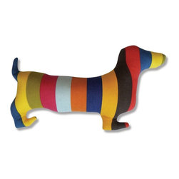 Naked Decor - Doxie Silhouette Pillow - Long on personality, this accent pillow is as playful as the iconic dachshund breed. The colorful accent piece is the ideal finishing touch to your dog-loving sofa or bed. Mix and match it with bold patterns and shapes for an eclectic look.