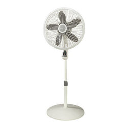 "Lasko - 18"" Remote Control Oscillating Pedestal Fan 3-Speeds - The Lasko 1850 18 In. Adjustable Elegance and Performance Pedestal Fan, in white, features a Multi-Function remote control and a stylish, elegant grill design that blends into the surrounding decor. Three powerful speed settings, a fan head with adjustable tilt and a wide oscillation sweep, cools even the largest areas. Plus a convenient seven-Hour timer cools on your schedule. Powerfully cools the largest home spaces."