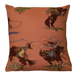 "Mid Century Home USA - Mid Century Cowgirl Pillow Cover Barkcloth Western Cowboys Rodeo - This pillow cover was freshly made using a very unique late 1940's barkcloth fabric. The design is ""Go Cowgirl Go II!"" complete with cowgirl & bronco in a rodeo scene. The fabric was unused and is very nice. The colors are vibrant and sit on a soft pink background. The back of the pillow is a coordinating soft pink textured barkcloth with an envelope closure. The seams are professionally serged to prevent fraying. The pillow insert is NOT included. The pillow is 17"" X 17"", use a 18"" pillow insert to ensure a very plump pillow. There is a coordinating pillow cover listed as well, making a beautiful set! Shipping is free within the USA We have Cowboy Pillows too!"