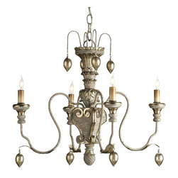 Currey and Company - Currey & Co Moyanne Chandelier - The richness of hand carved wood with wrought iron is given a striking finish of Provincial White and Silver Leaf. Glass drops with Silver Leaf add another touch of elegance to this striking design.