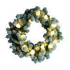 The Firefly Garden - Mint Tulip - Illuminated Floral Design - Give your front door a fresh look with glowing green, yellow, and white tulips accented with lush mint green hops blossoms.  This gorgeous wreath is illuminated with tiny warm white battery operated LED lights that bring a subtle and welcoming glow to your entry.