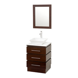 "Wyndham Collection - Wyndham Collection 22"" Rioni Single Sink Vanity in Espresso w/ White Glass Top - The Wyndham Collection presents another exclusive design, the Rioni pedestal bathroom vanity. Three drawers provide ample storage and the contemporary styling is elegant in any modern bathroom setting. Choose a clean white countertop and sink or make a make bold statement with smoke glass."