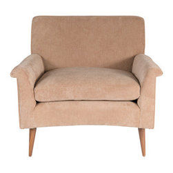 Barnaby Club Chair - M n Originals Sculpted arm club chair are solid hand turned walnut legs.Low profile club chair with loose down seat cushion sits nicely on solid walnut tapered legs.Shown here is a fine whale cotton corduroy fabric.