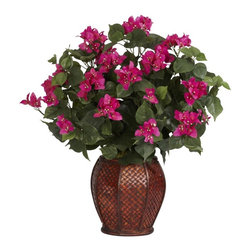 Bougainvillea with Vase Silk Plant - With its plentiful leaves accented by numerous flowers, this plant is sure to bring a smile to anyone's face. Standing at just over two feet tall, the Bougainvillea is a wonderful plant to add to any room that needs that extra splash of color. Complimenting the arrangement is a rich vase that only helps to accent its featured flower. A true delight for any occasion! Height= 24.5 in x Width= 29 in x Depth= 22 in