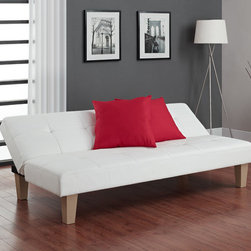 "Dorel Home Products - Aria Leather Futon - Sturdy, durable and comfortable, DHP's Aria Futon Sofa bed is a perfect choice for any room. This futon has faux leather upholstery that is easy to maintain with only a wipe down of a damp cloth. With its sleek, chic and modern appearance, the Aria Futon matches any décor and looks like it came straight out of a design magazine. The high-quality futon provides versatility and converts easily to multiple positions, adjustable to your preferences. Features: -Click-Clack technology makes this futon sleeper easy to open and close.-Leather construction.-Color: White.-Distressed: No.Dimensions: -14.5 - 29"" H x 69"" W x 32 - 38"" D.-Overall Product Weight: 70 lbs.Warranty: -Manufacturer's 1 year limited warranty."