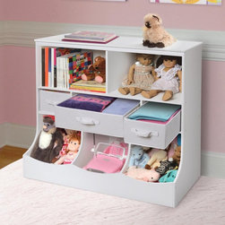 Badger Basket - Badger Basket Storage Unit with Three Baskets - 98861 - Shop for Childrens Toy Boxes and Storage from Hayneedle.com! The Badger Basket Storage Unit with Three Baskets provides a balanced combination of open and closed storage that's super for your child's room or for the nursery entryway or family room. Two open shelves can host media collections books puzzles linens display pieces and more. The next level down is fitted with removable baskets that fold flat when not in use and are ideal for sorting and containing toys accessories mittens cords and cables craft supplies and more. If you prefer additional open shelving simply remove the baskets. Solid panels of wood composite are joined with no gaps so that items cannot escape through the sides or back.Non-toxic finish is kid-friendly and this storage unit complies with CARB ATCM standards. Illustrated instructions are provided for assembly which only requires a screwdriver.Additional Dimensions:Each top open shelf: 17.38W x 10.6D x 13H in.Small baskets: 8W x 10D x 6H in. (ea.)Large baskets: 16.75W x 10D x 6H in.Bottom bins: 11.38W x 14.5D x 15.38H in.Badger Basket CompanyFor over 65 years Badger Basket Company has been a premier manufacturer of baskets bassinets bassinet bedding changing tables doll furniture hampers toy boxes and more for infants babies and children. Badger Basket Company creates beautiful and comfortable products that are continually updated and refreshed bringing you exciting new styles and fashions that complement the nostalgic and traditional products in the Badger Basket line.