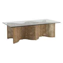 "Lexington - Tommy Bahama Aviano Rectangular Cocktail Table - The natural seagrass coloration of all-weather wicker provides the perfect material for the pair of undulating panels. The tempered glass with polished edge is the ideal pairing with the undulating pair of all-weather woven wicker panels. Some assembly is required. Table Base: 52""W x 21""D x 18""H. Top: 60""W x 36""D x .5""H."