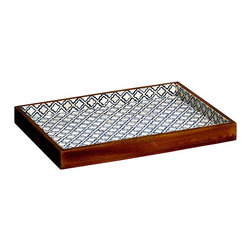 Eternal Twilight Decorative Tray, Medium - This sophisticated bone and resin tray adds timeless polish to any soiree. A distinctive way to serve champagne or cocktails at any celebration, its motif is inspired by the decorative latticework that adorned the lavish monuments and palaces of the Mughal Empire. Bring the same timeless elegance into your home with our Eternal Twilight Decorative Tray.